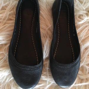 Frye size 6 black leather flats